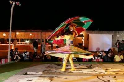 Dancer performing during desert safari in Dubai