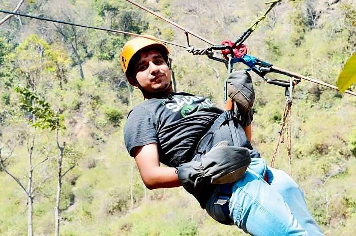 A traveler tries an adventure activity in Lansdowne