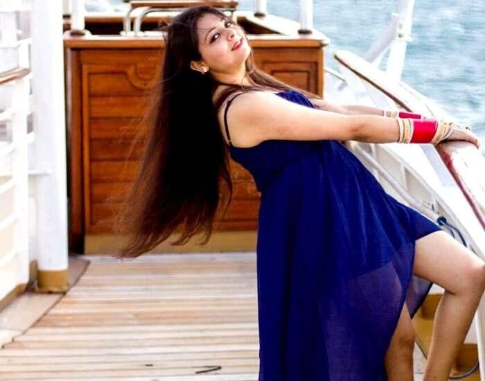 enjoying a cool morning breeze on deck