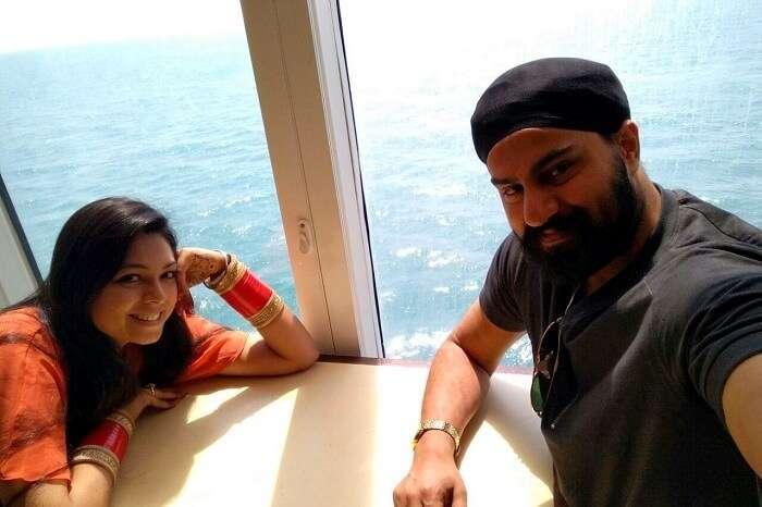 enjoying the superb view of high seas cruise