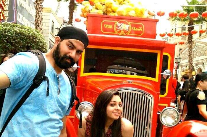 clicking a picture outside a carnival bus