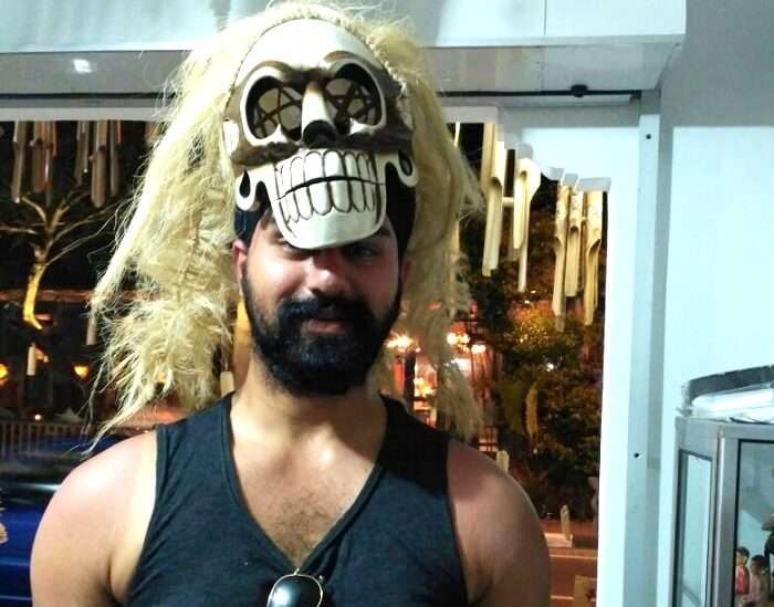 gurpreet trying on some masks