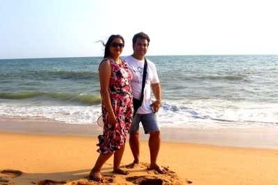Couple enjoying Kerala beaches