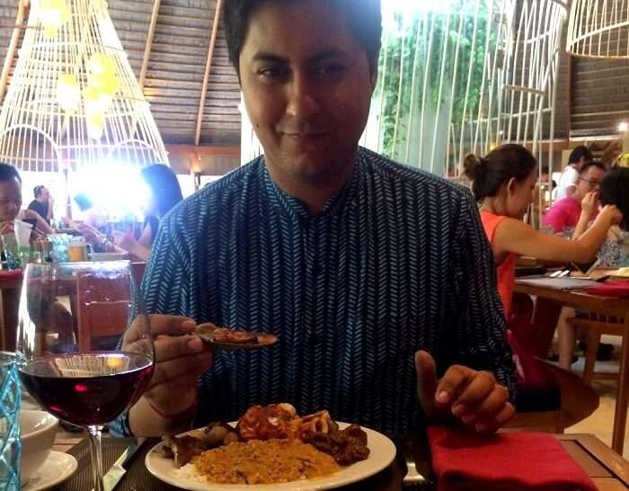 trying out new food in Maldives