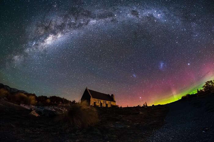Aurora Australis lighting up the sky above the Church of Good Shepherd