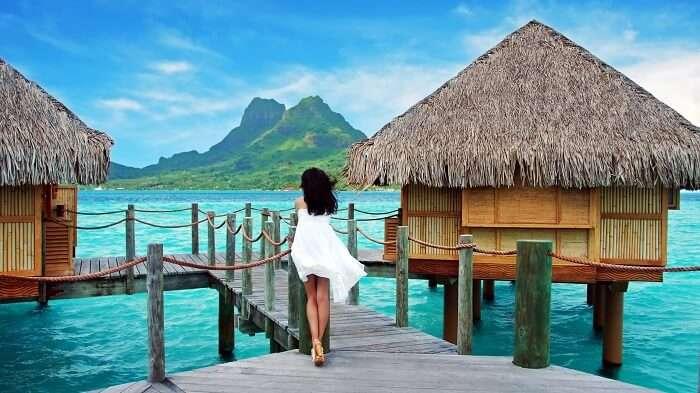 solo female traveler on holiday in Bora Bora Islands
