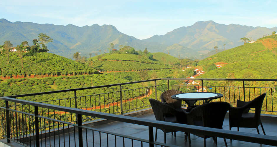 Open air seating area at Chateau Woods in Wayanad