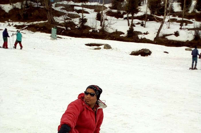 enjoying the weather at solang valley