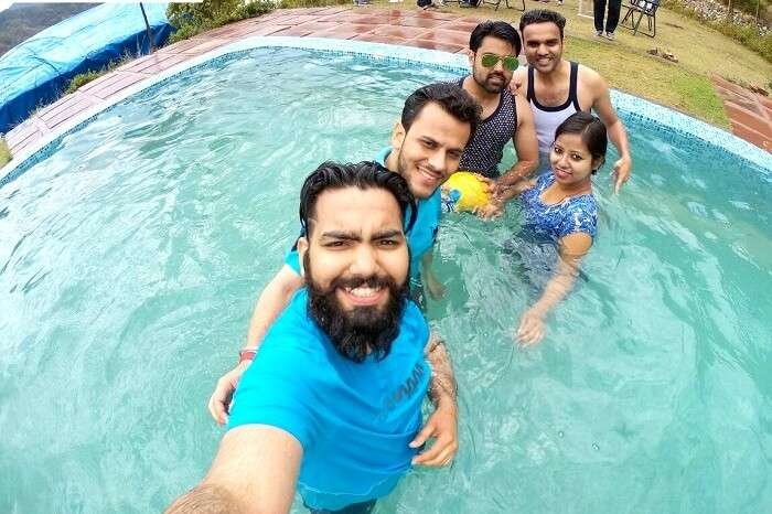 having fun with friends in the pool