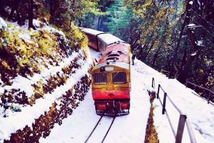 Toy train ride running running from Shimla to Kalka