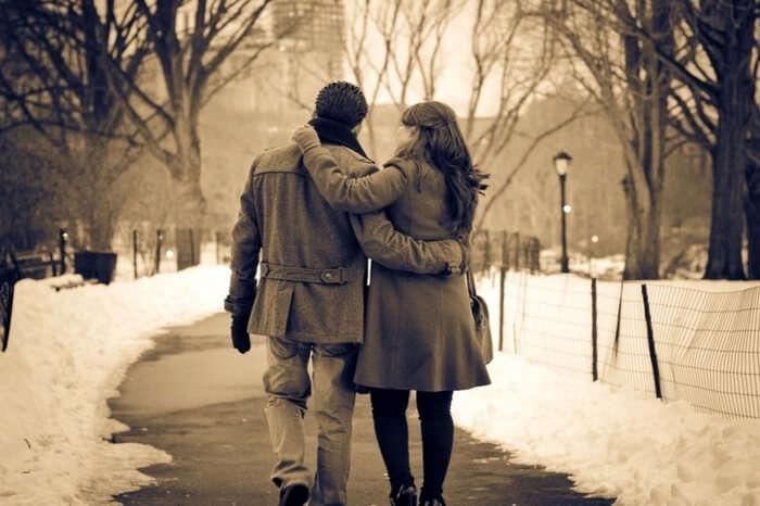 Couple taking a romantic walk in Shimla