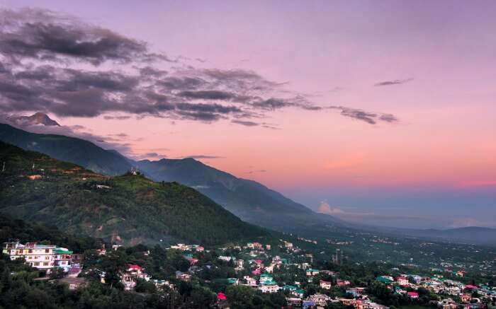 View of Dharamshala with pink tinges