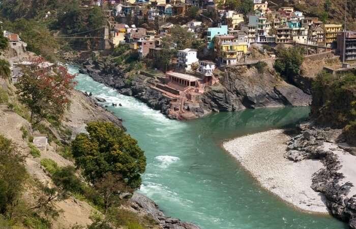 The confluence of Alaknanda and Bhagirathi in Devprayag in Uttarakhand