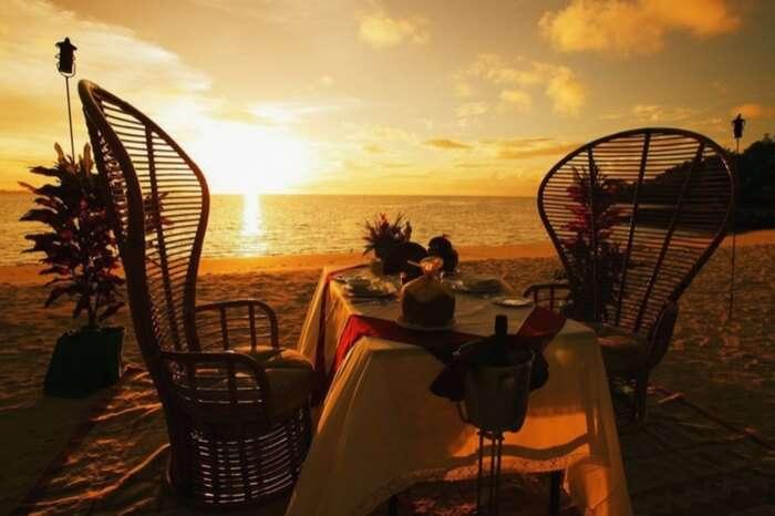 Well laid table at a sea beach restaurant in Chennai