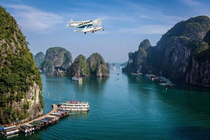 A seaplane flying over the Halong Bay near Hanoi