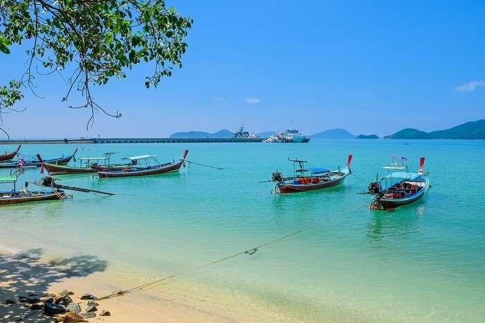 Traditional Thai boats for tourist near the Panwa beach in Phuket