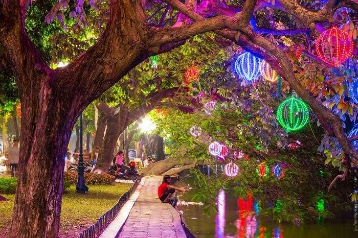 A well-lit garden in Hanoi