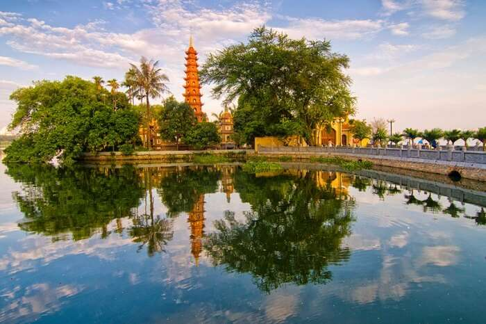 An early morning shot of Tran Quoc pagoda at the shores of West Lake in Hanoi