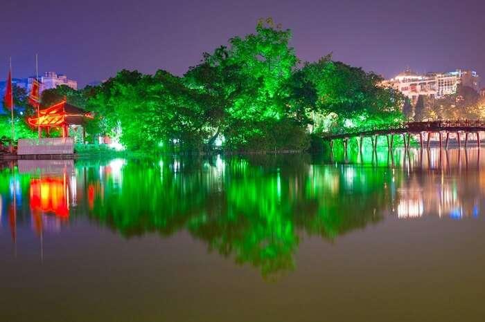 Night shot of Red Bridge in Hoan Kiem Lake in Hanoi