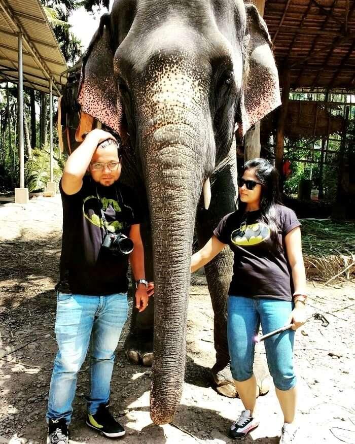 couple at Elephant junction, Kerala