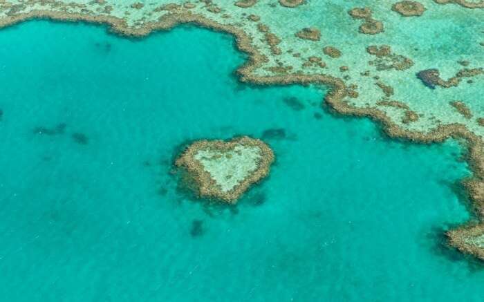 Heart Reef in Australia as viewed from above