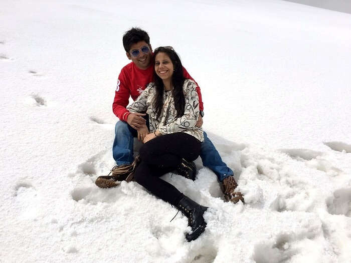 playing in the snow in kashmir
