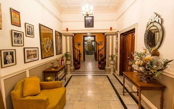 Interiors of Taragarh Palace in Kangra