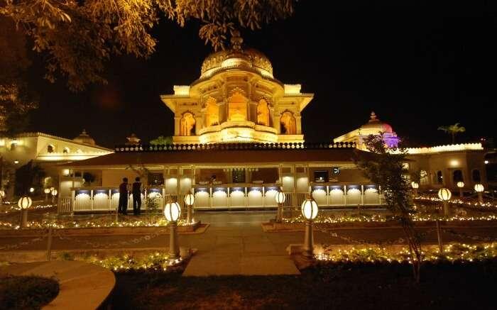 Jag Mandir Palace at night in Udaipur