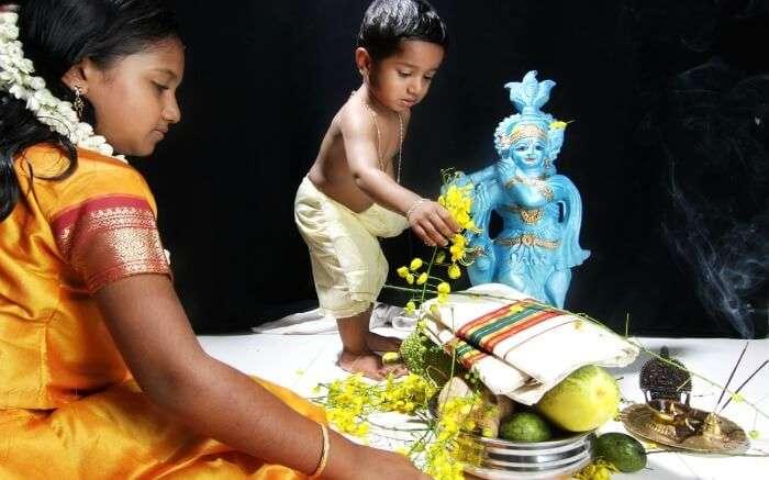 Kids preparing for Vishu festival