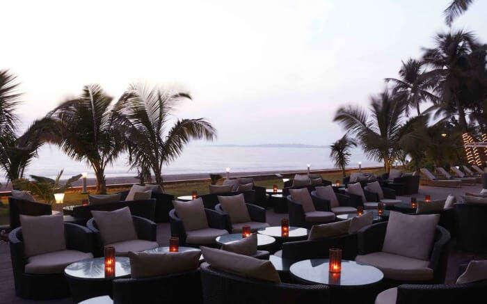 Rooftop dining area of Gadda Da Vida in Juhu in Mumbai