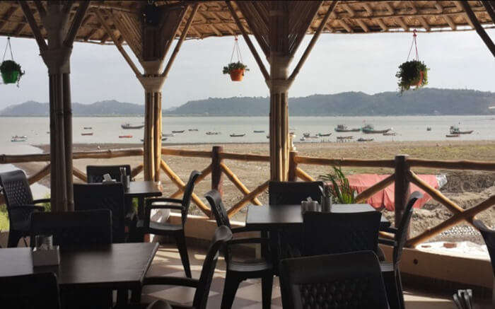Seaview from the dining area of Farmhouse Sea n Sand in Mumbai
