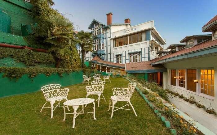 Sitting area at Clarkes Hotel in Shimla