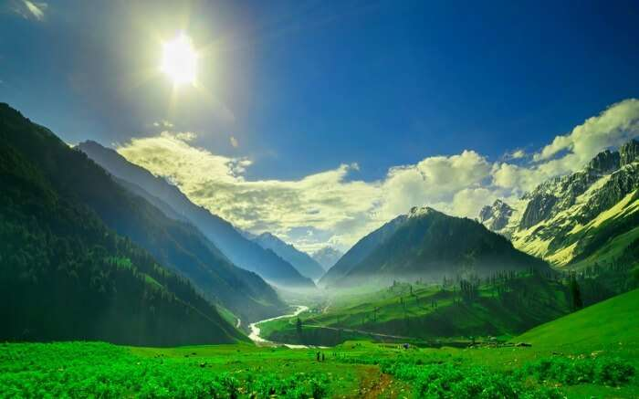 The beautiful mountain view of a valley near Sonamarg in Kashmir