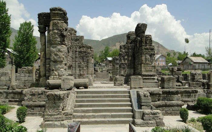 The ruins of Awantipora in Srinagar on a beautiful day