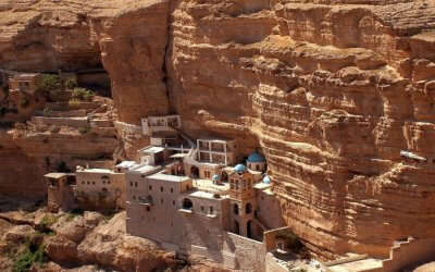 Top view of Saint George Monastery in Judean Desert in Israel