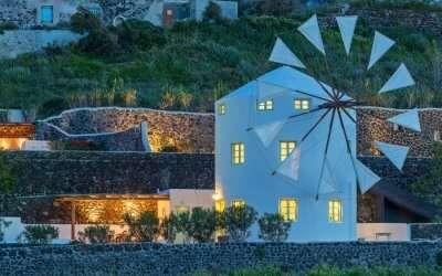 a windmill style villa in Santorini