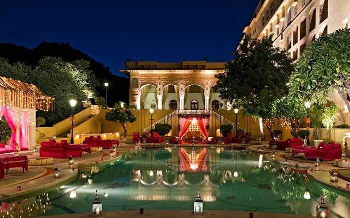 beautifully decorated Samode Palace in Jaipur