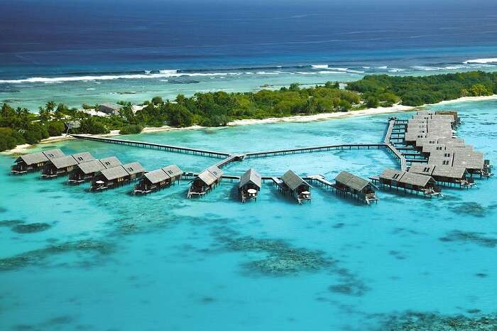 -An aerial view of the Shangri-La Villingili Resort Island and Spa in Maldives