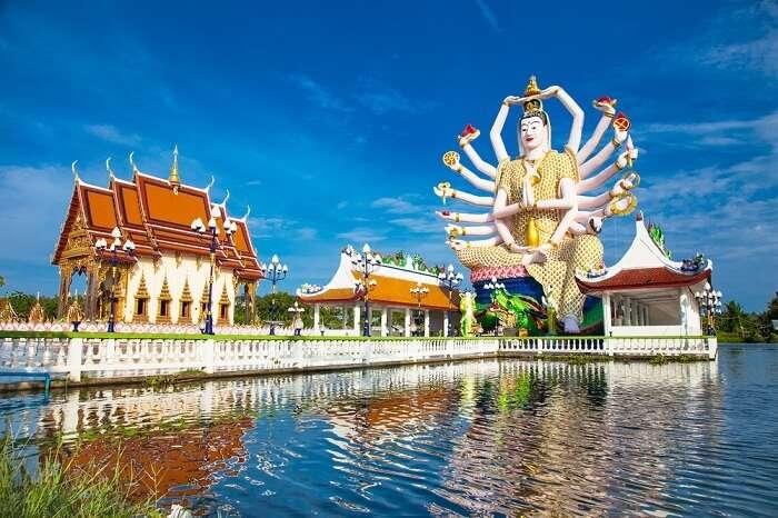Wat Plai Laem temple with 18 hands God statue in Koh Samui