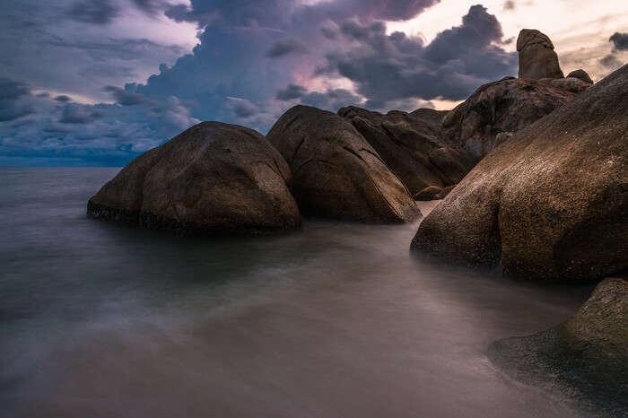The famous Hin Ta and Hin Yai rocky landscape along the coastline of Koh Samui