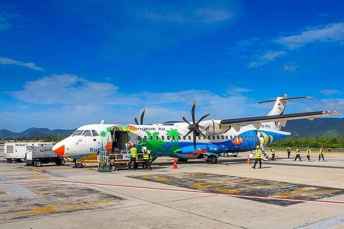 A Bangkok Airlines flight at the Samui International airport