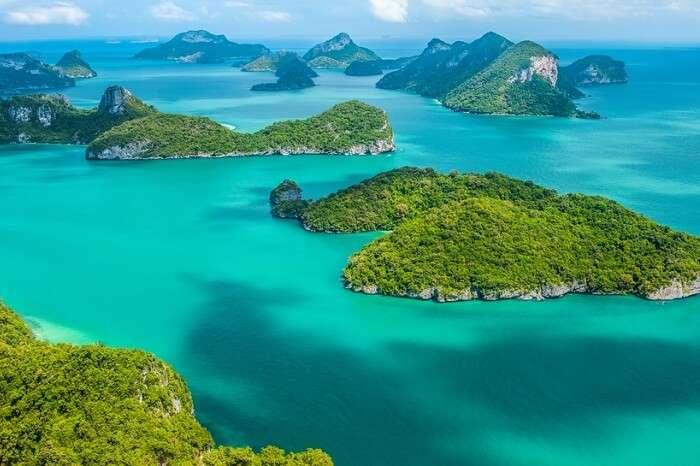 Tropical group of islands in Ang Thong National Marine Park near Koh Samui