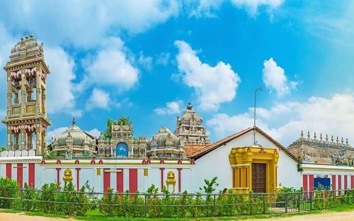 Panorama of Munneswaram temple complex in Chilaw region of Sri Lanka