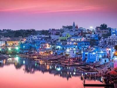 An evening shot of the water body in Ajmer region