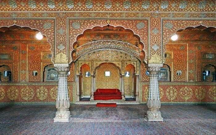 the gorgeous interior of Junagarh Palace
