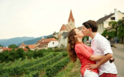 A couple in Austria on honeymoon