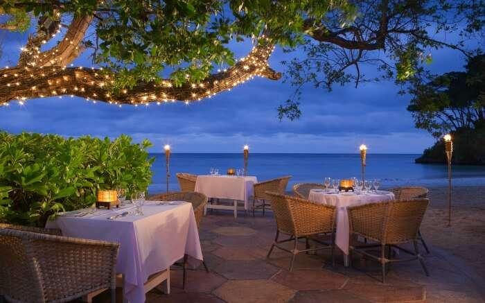 A romantic dinner setting overlooking Caribbean sea