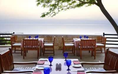 Breakfast tables on terrace with the views of Indian Ocean