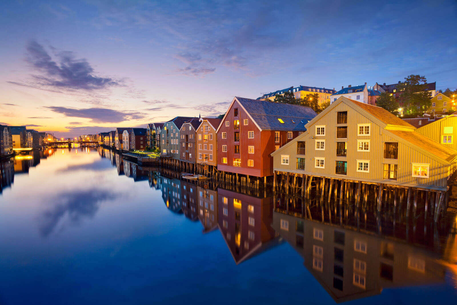 Colourful homes in Trondheim city