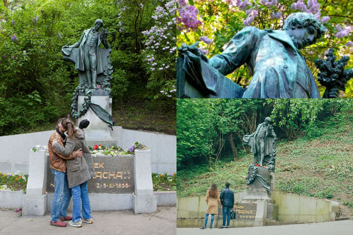 A couple showing scenes from May Day kiss at Macha Statue in Prague